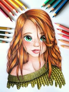 Green eye girl by DoodleLucyArt You are in the right place about drawing sketches vintage Here we of Girl Drawing Sketches, Girly Drawings, Art Drawings Sketches Simple, Pencil Art Drawings, Colorful Drawings, Disney Drawings, Girl Drawing Images, Hair Drawings, Girl Sketch