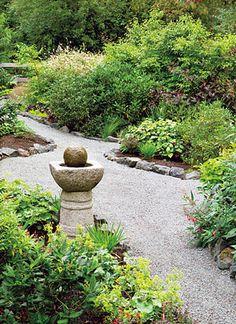 Gravel path with rock edges