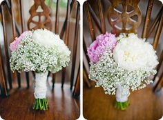 So pretty! This #bridalbouquet includes white and pink peonies and gypsophila. www.shelldemar.com