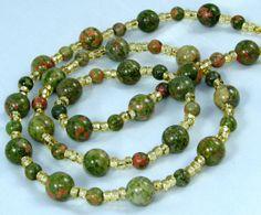 Green and Red Unikite Gemstone Beaded Id Badge Lanyard by nonie615, $26.00