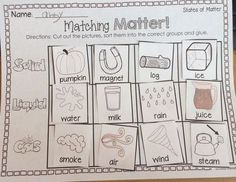 States of Matter FREEBIE! Students will cut out the pictures, sort them into the correct #StatesOfMatter group and glue. 2 versions included.