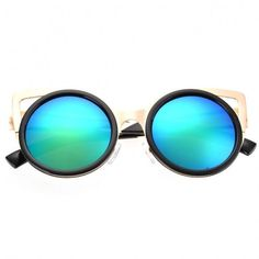 Lady Women's Retro Charming Round Lens Hollow Out Full Frame Sunglasses