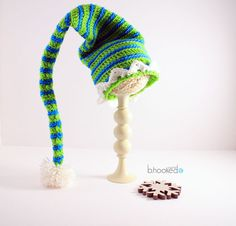 Crochet Elf Hats for the Entire Family. Six sizes available  - free pattern and video tutorial from B.hooked Crochet.