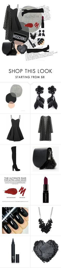 """Some one in black"" by fatimanazstar ❤ liked on Polyvore featuring Valentino, Glamorous, MANGO, Urban Decay, Smashbox, Betty Jackson, Moschino, women's clothing, women and female"