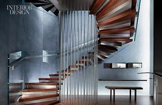 A Pearl Anniversary: David Yurman's Uptown Flagship Office. A three-story staircase wraps around stainless-steel rods at the rear of Gabellini Sheppard Associates's Upper East Side flagship for David Yurman jewelry.