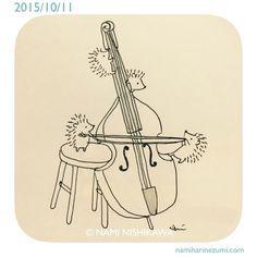 Hedgehogs and a cello ©Nami Nishikawa Hedgehog Day, Hedgehog Drawing, Hedgehog Craft, Cute Hedgehog, Hedgehog Illustration, Illustration Art, Doodle Art, Cute Cartoon, Cute Drawings