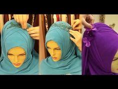 Özel Gün Şal Bağlama Modelleri | Ağır Çekimiyle Bridal Hijab, Hijab Bride, Wedding Hijab, Square Hijab Tutorial, Hijab Style Tutorial, Muslim Brides, Muslim Women, Bb Style, Turban Style