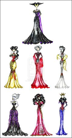 Disney Villain Fashion by khIIlver147.deviantart.com on @deviantART    These need to be turned into real dresses to be worn, even if it's only for cosplay purposes. They're too beautiful to only be in the drawn stage.