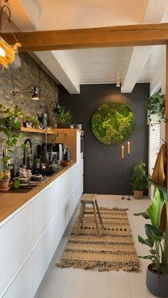 Industrial Style Kitchen, Loft Kitchen, Kitchen Room Design, Farmhouse Style Kitchen, Modern Kitchen Design, Home Decor Kitchen, Kitchen Interior, Home Kitchens, Küchen Design