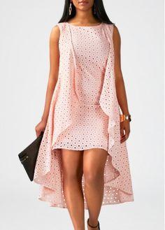 Pink Sleeveless High Low Shift Dress