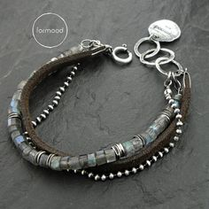 Studio Formood - Sterling/labradorite/leather bracelet