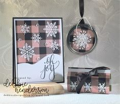 I sponged the Merry Little Christmas Designer Paper with Powder Pink Ink for these 3 projects. Stampin' Up! Merry Little Christmas stamp set, Seasonal Layers Dies and a Canning Jar Lid for the ornament. Debbie Henderson, Debbie's Designs #stampinup #debbiehenderson #debbiesdesigns #christmas #technique #3Dornament #canningjar #canninglid