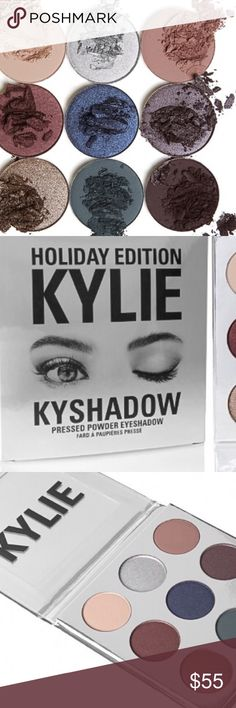 🎄🎄Kylie's Holiday Collection Kyshadow🎄🎄 Each Palette comes with 9 pressed powder shadows. These special shades are infused with diamond powder. Sugar Cookie (matte finish creamy warm nude) Frosty (metallic finish platinum silver) Chestnut matte finish muted dusty mauve Mittens metallic finish deep mahogany red Winter (metallic finish shimmering denim blue) Nutcracker (metallic finish silvery plum) Gingerbread (metallic finish shimmering silver bronze) Evergreen (matte finish deep teal…