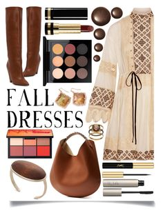 """""""Fall Dresses"""" by ittie-kittie ❤ liked on Polyvore featuring Yves Saint Laurent, Tory Burch, Givenchy, Kendra Scott, MAC Cosmetics, Gucci, Ilia, Olive & Ivy, Fall and fallfashion"""