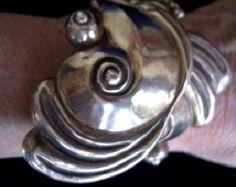 Rare antique sterling silver taxco mexico cuff clamper bracelet