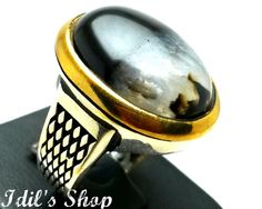 Men's Ring, Turkish Ottoman Style Jewelry, 925 Sterling Silver, Gift, Traditional Handmade, With Black Agate, US Size 9, New