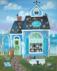 Bath Shop Folk Art Original Art Print by KimsCottageArt on Etsy, $12.95