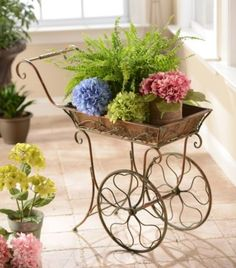 Antique Bronze Cart Plant Stand