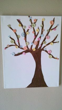 Painted button tree on canvas