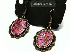 Fuchsia Glitter Earrings