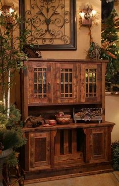 For a formal dining room. Barn wood hutch/ china cabinet.