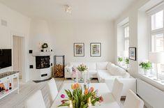 Um apartamento espaçoso com uma distribuição interna inteligente. Suécia.