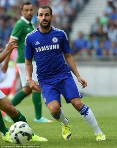 Former Arsenal and Barcelona midfielder Cesc fabregas in his first appearance for Chelsea