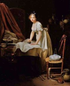 1800 Louis Leopold Boily (French painter, 1761-1845) Young Woman Ironing