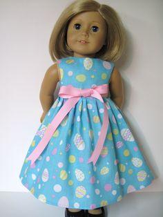 Easter Eggs on Blue Sleeveless Easter Dress for Your American Girl Doll. $9.99, via Etsy.