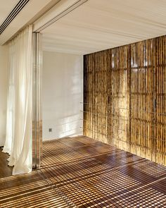 Bamboo panels creating amazing light....thinking about creating a bamboo blind for the porch....for the evening sun