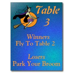Witch Halloween Bunco Table Card Number 3 Postcards