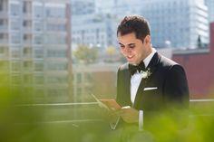 Groom reading wedding day card from Bride at Malaparte Terrace :) Toronto Wedding Photographer, Rooftop, Perfect Wedding, Terrace, Wedding Planner, Boston, Groom, Wedding Day, Bride