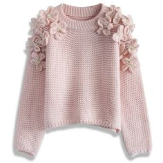 Chicwish My Flowers and Pearls Sweater in Pink found on Polyvore featuring tops, sweaters, pink, flower sweater, flat top, relaxed fit tops, waffle knit sweater and pink sweater