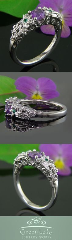 Gorgeous purple sapphire and flower mounting. Beautiful custom ring from green lake jewelry