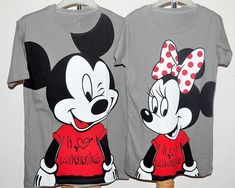 Mickey And Minnie Mouse Couple Shirts Disney Couples, Disney Shirts For Family, Family Shirts, Kids Shirts, Cool Shirts, Disney Dress Up, Disney Outfits, Disney Clothes, Cute Disney