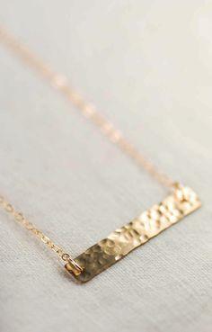 SALE Black Friday Sale Cyber Monday Sale Kaila necklace - gold bar necklace, single strand necklace, hammered gold filled bar necklace, mini