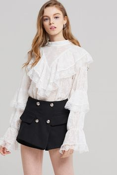 Sophia Embroidered Frill Blouse Discover the latest fashion trends online at storets.com #fashion #embroidered #frillblouse #blouse #storetsonme