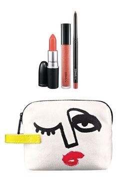 M·A·C 'Illustrated - Peach x3' Lip Color & Bag by Julie Verhoeven (Nordstrom Exclusive) ($54.50 Value) | Nordstrom