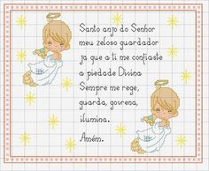Oração-Anjo-da-Guarda-ponto-cruz Almofada de Anjos em ponto cruz
