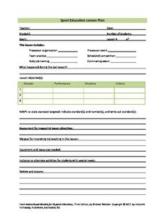 sports lesson plan template - lesson plan examples physical education lesson plan