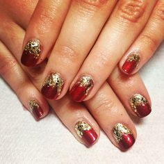 Red with gold foil and glitter by Neringa Nails