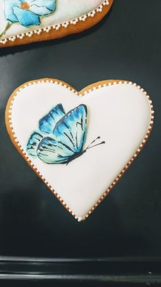 Blue butterfly, Handpainted cookie, gingerbread Blue Butterfly, Gingerbread, Hand Painted, Cookies, Accessories, Crack Crackers, Biscuits, Ginger Beard, Cookie Recipes