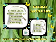 Bath and Beauty, 3 Herbal Bath Bags, Lemon Grass, Kaffir Leaves & Grapefruit Calming Bath Bag, Bath Set, Home Spa, Relaxation, Herbal Gift by HerbalBaths on Etsy