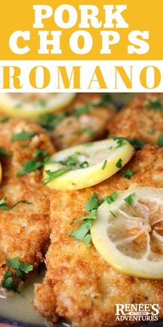 Pork Chops Romano in Lemon-Butter Sauce by Renee s Kitchen Adventures - easy pork recipe for weeknight dinners but special enough for company Cheese lemon and pork-a perfect combination ad OHPork Easy Pork Chop Recipes, Meat Recipes, Healthy Recipes, Pork Recipes For Dinner, Pork Lion Chops Recipes, Sauce Recipes, Brunch Recipes, Pork Cutlet Recipes, Rabbit Recipes