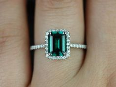 Esmeralda 14kt White Gold Rectangle Emerald and Diamond Halo Engagement Ring…