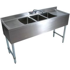 """Stainless Steel 3 Compartment Underbar Sink 72"""" with 2 Drainboards"""
