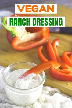 Are you looking for an easy homemade vegan ranch dressing recipe? Stop your search! This is the best easy vegan ranch dressing. Delicious with salads and side dishes. No need to give up that amazing ranch taste even if you eat dairy free. Vegan Ranch Dressing, Ranch Dressing Recipe, Homemade Ranch Dressing, Vegan Mayonnaise, Homemade Mayonnaise, Healthy Dips, Healthy Meals To Cook, Real Food Recipes, Vegan Recipes