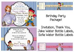 Jake and the Neverland Pirates  and Princess Sofia The First Birthday Party Package on Etsy, $13.00