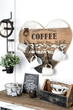 Coffee Station: Does mom love her morning brew? This cute coffee sign, made of reclaimed wood and complete with hooks for mugs, will soon become her favorite spot in the kitchen.