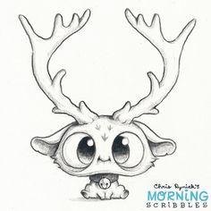 Morning Scribbles Cute Reindeer by Chris Ryniak